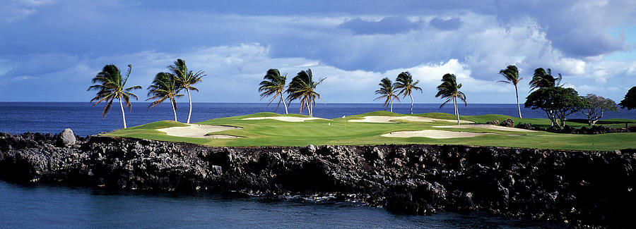 Horizontal Photograph - Golf Course At The Seaside, Hawaii, Usa by Panoramic Images