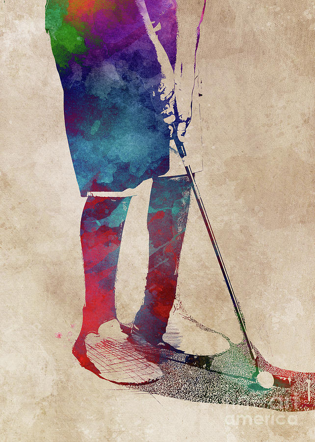 Golf player sport art by Justyna Jaszke JBJart
