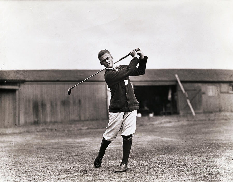 Golfer Bobby Jones Swinging Club Photograph by Bettmann