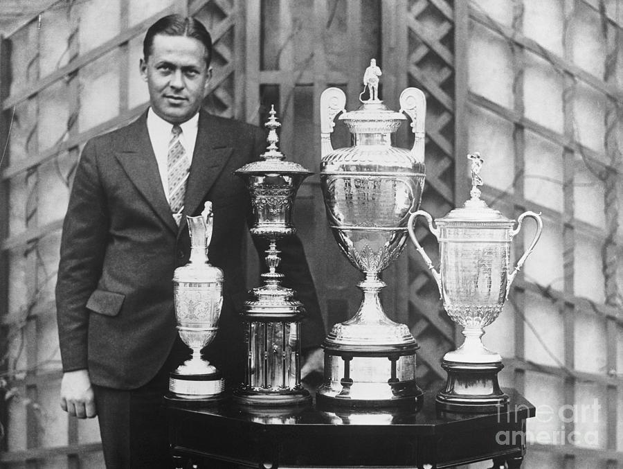 Golfer Bobby Jones With Golf Trophies Photograph by Bettmann