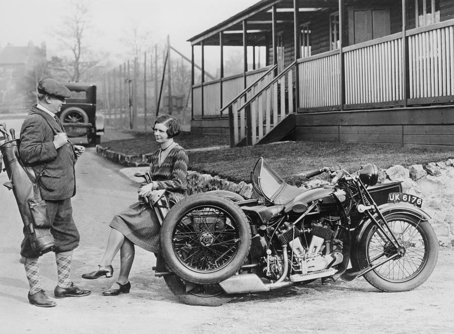 Golfers With A 1939 Ajs And Sidecar Photograph by Heritage Images