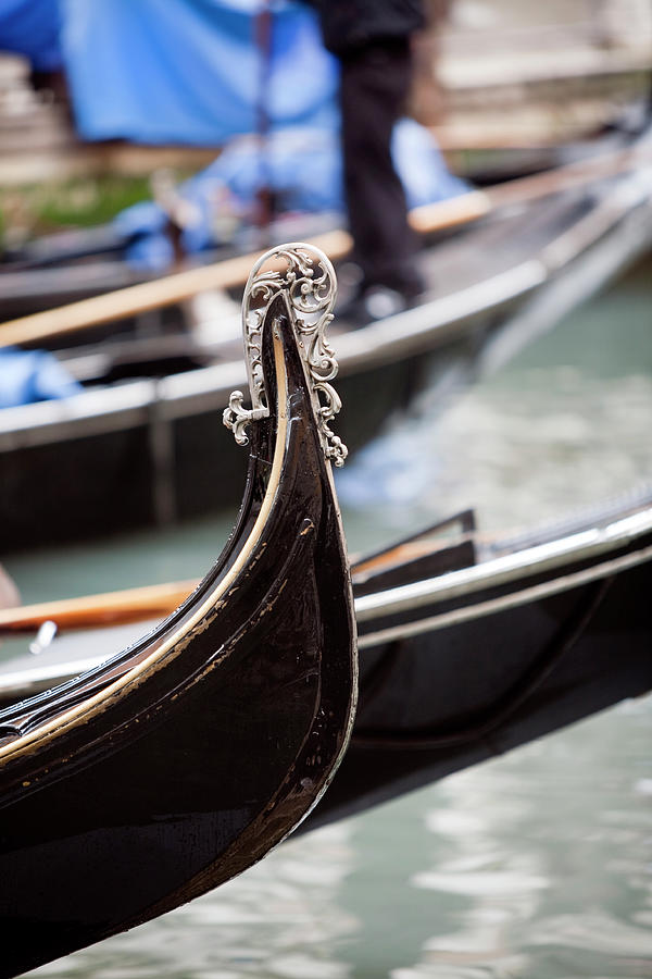 Gondola Detail In Venice Canal Photograph by Lillisphotography
