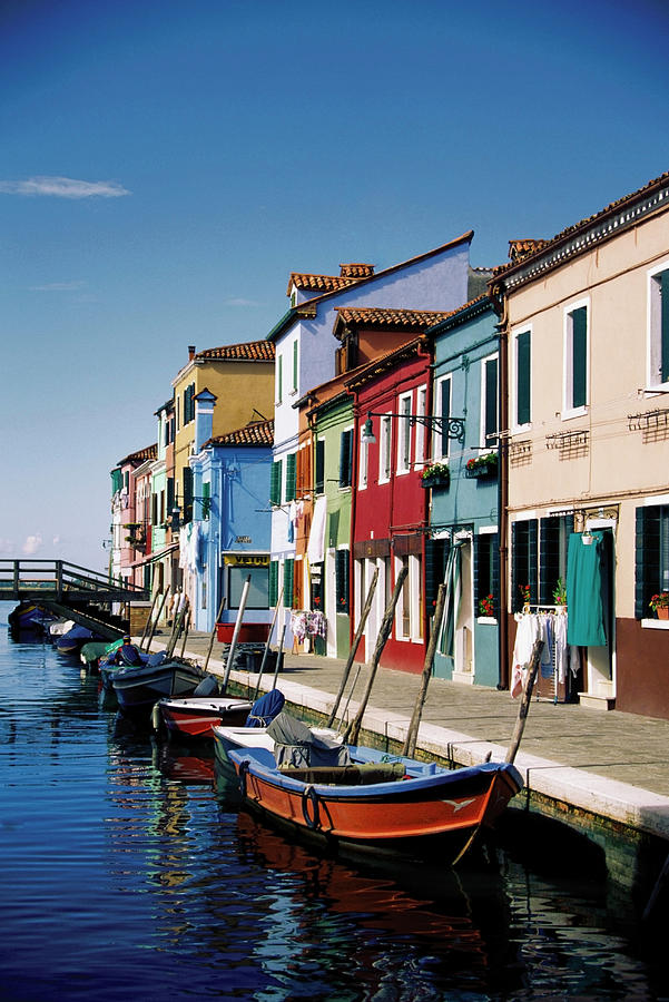 Gondolas In A Canal, Burano, Venice Photograph by Medioimages/photodisc