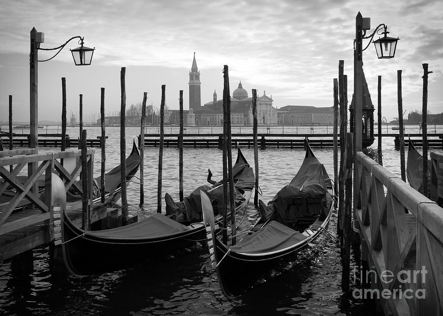Church Photograph - Gondolas In Venice Black And White by Vesilvio