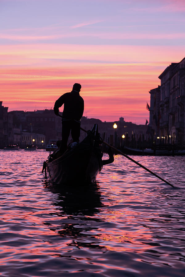 Gondolier at Sunset by John Daly