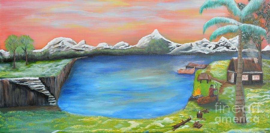 Landscape Painting - Gone Fishing by Sabine ShintaraRose