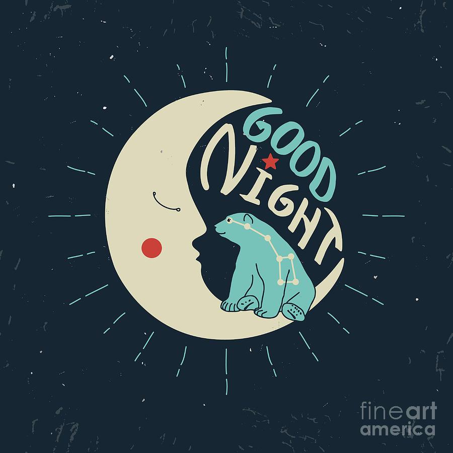 Bed Digital Art - Good Night Polar Bear With Ursa Major by Ksenia Martianova