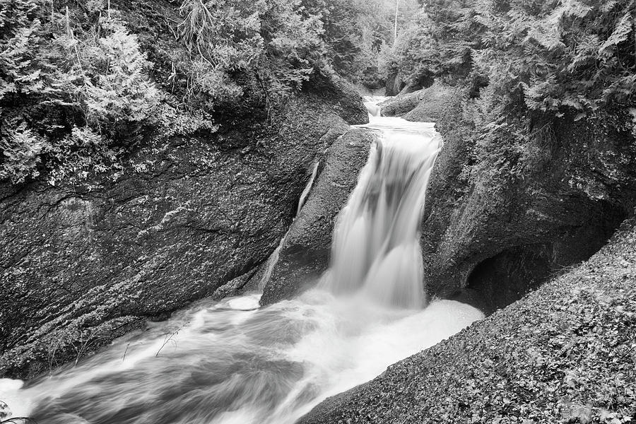 Gorge Falls Black and White - Michigan by Rick Veldman