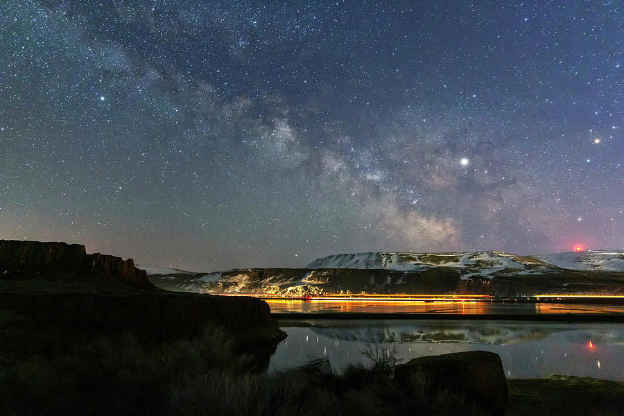 Night Photograph - Gorge Milky Way by Cat Connor