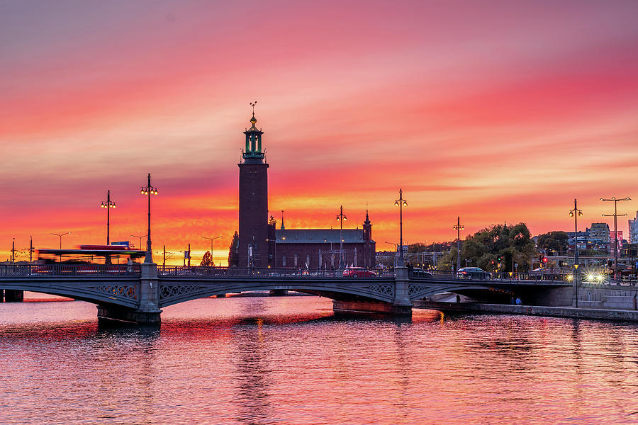 Gorgeous Gentle Pink sunset over the Stockholm City Hall by Dejan Kostic