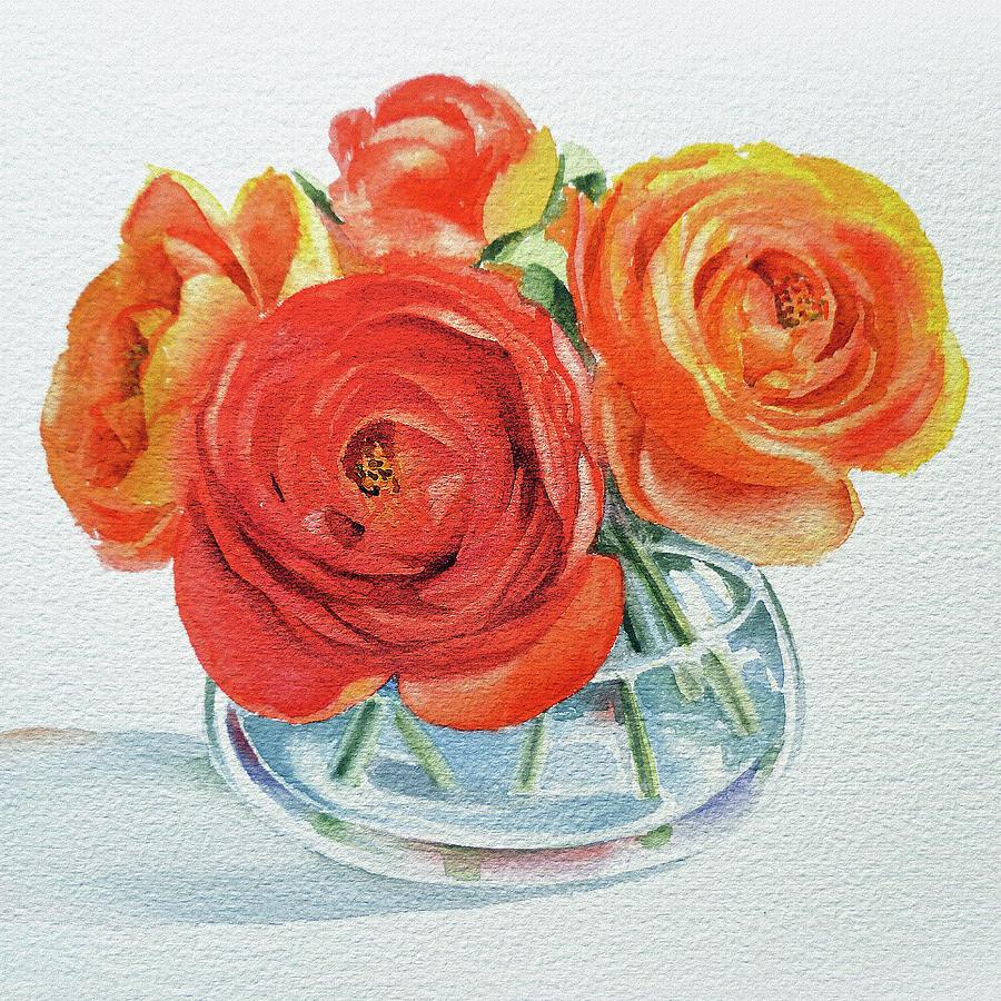 Gorgeous Ranunculus Watercolor Bouquet by Irina Sztukowski