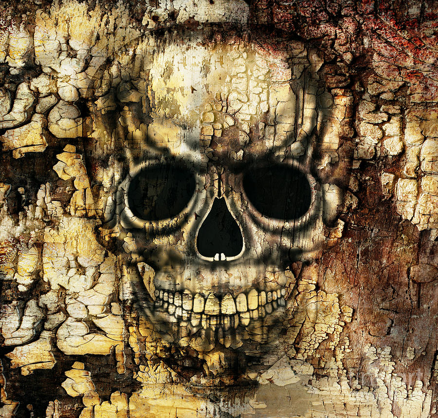 Strong Digital Art - Gothic Image Of A Human Skull by Valentina Photos