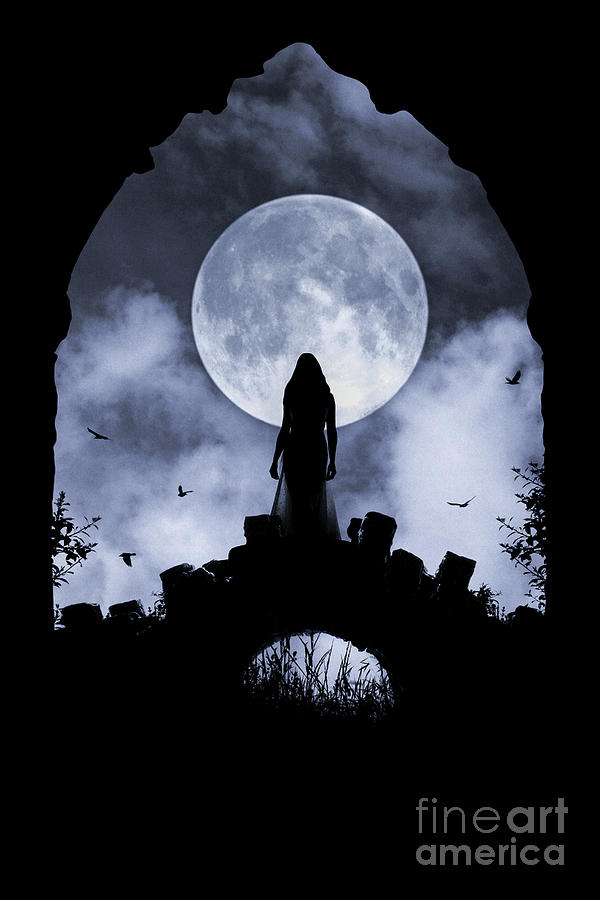 Gothic woman on bridge and full moon by Clayton Bastiani