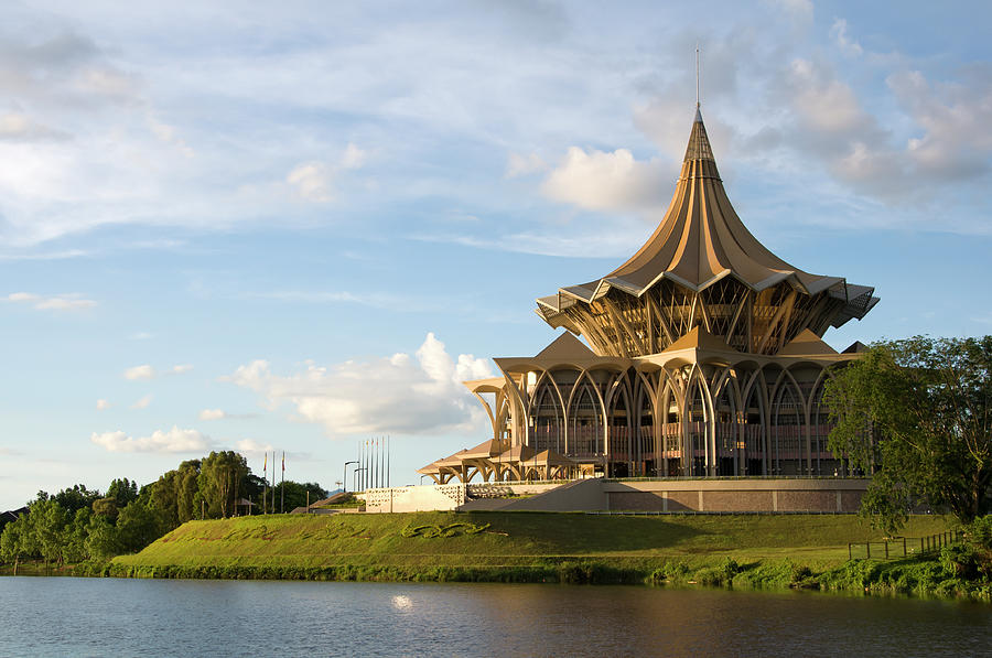 Government Building At Sunset In Kuching Photograph by Robas
