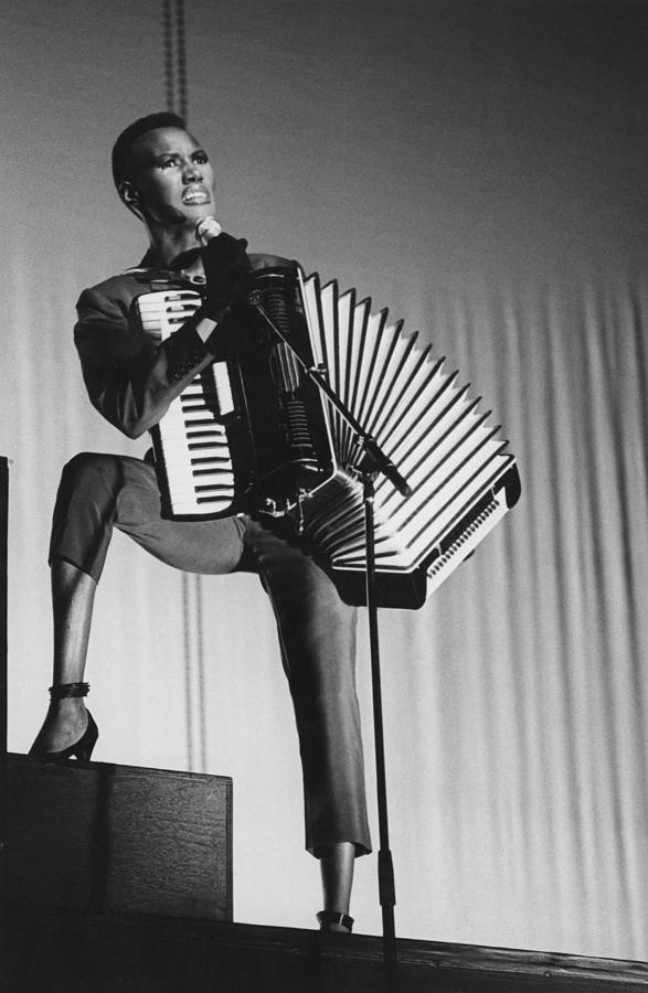Grace Jones With Accordion Photograph by Popperfoto