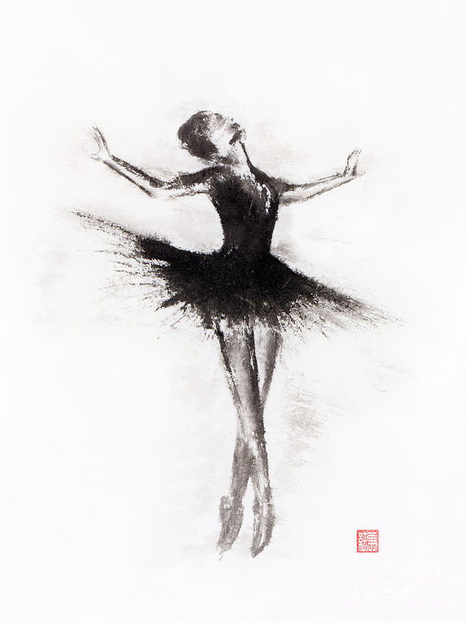 Graceful Ballerina Dancing Abstract Black And White Sumi E Ink P Painting By Awen Fine Art Prints