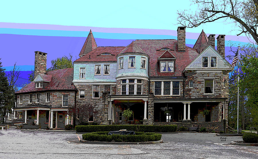 America Mixed Media - Graceland Mansion  by Charles Shoup