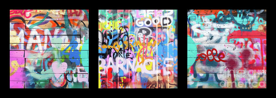 Graffiti Photograph - Graffitis Triptych by Delphimages Photo Creations