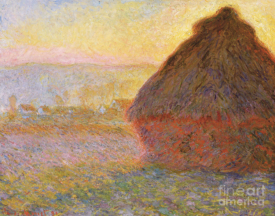 Grainstack Sunset 1891 Drawing by Heritage Images
