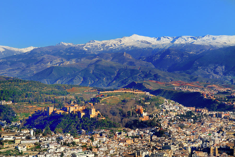 Architecture Photograph - Granada, The Alhambra And Sierra Nevada From The Air by Guido Montanes Castillo