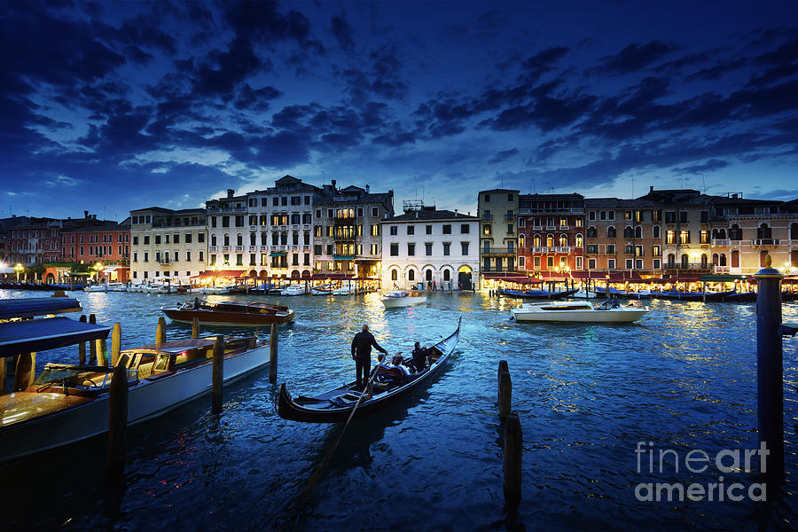 Dusk Photograph - Grand Canal In Sunset Time Venice by Iakov Kalinin