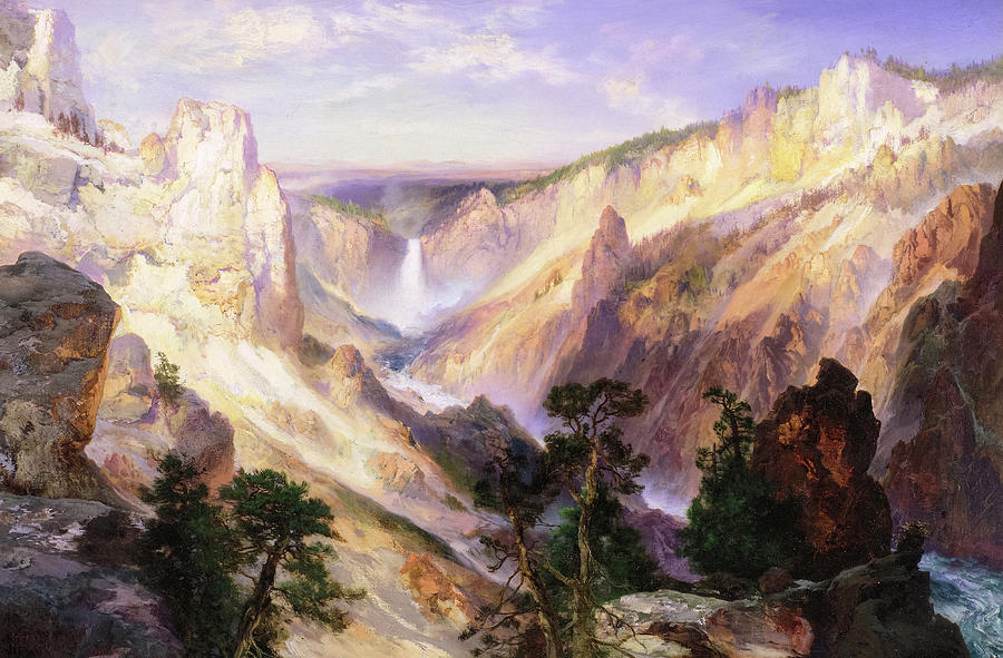 Thomas Moran Painting - Grand Canyon Of The Yellowstone, Wyoming, 1906 by Thomas Moran