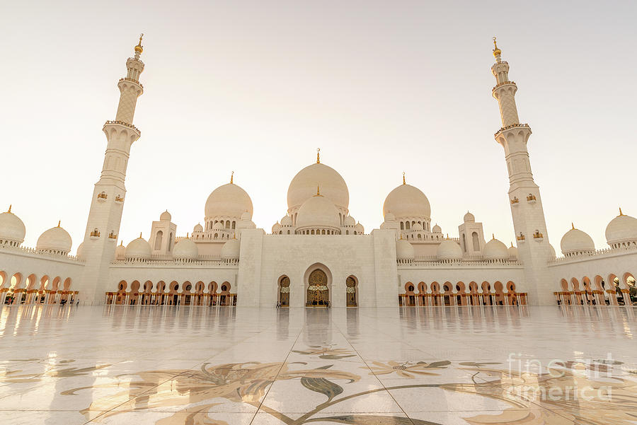 Abu Dhabi Photograph - Grand Mosque In Abu Dhabi At Sunset by Delphimages Photo Creations