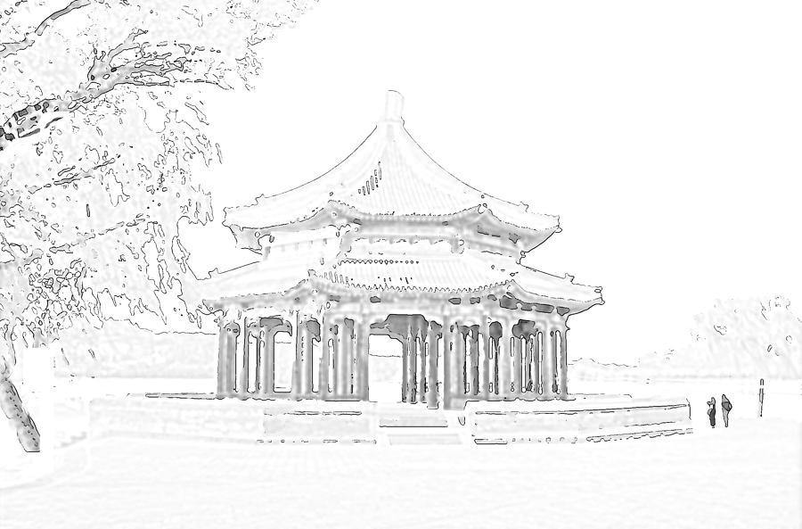 Grand Pavilion Mixed Media - Grand Pavilion sketch, Beijing, China by Steve Clarke