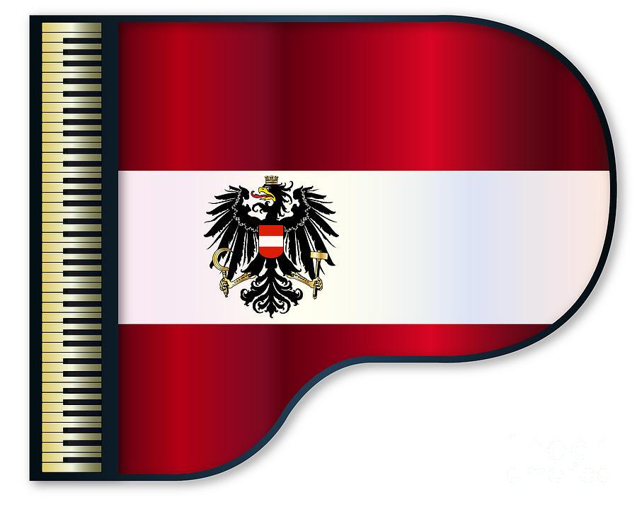 Grand Digital Art - Grand Piano Austrian Flag by Bigalbaloo Stock
