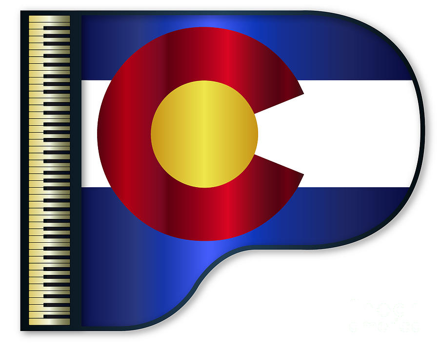 Grand Digital Art - Grand Piano Colorado Flag by Bigalbaloo Stock