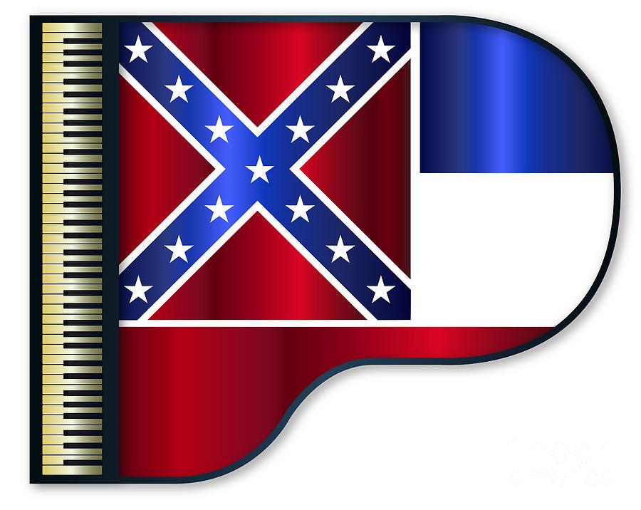 Grand Digital Art - Grand Piano Mississippi Flag by Bigalbaloo Stock