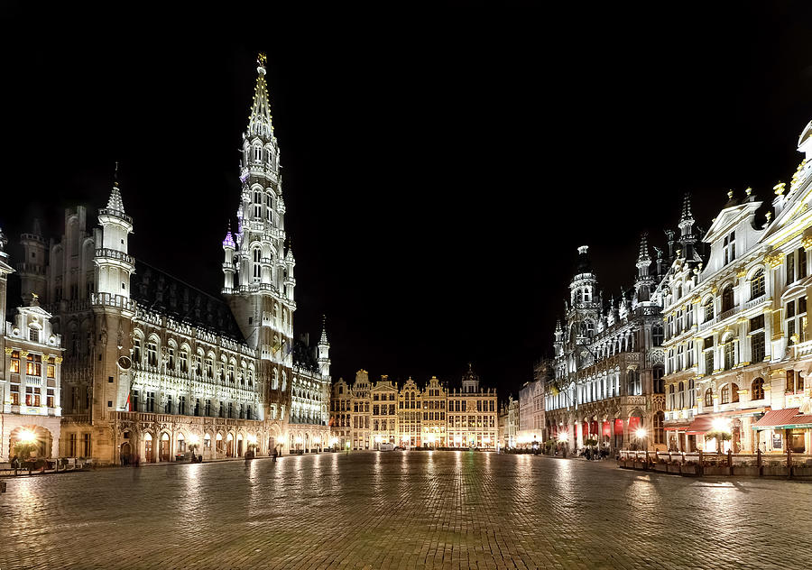 Grand Place Illuminated At Night Photograph by Sir Francis Canker Photography