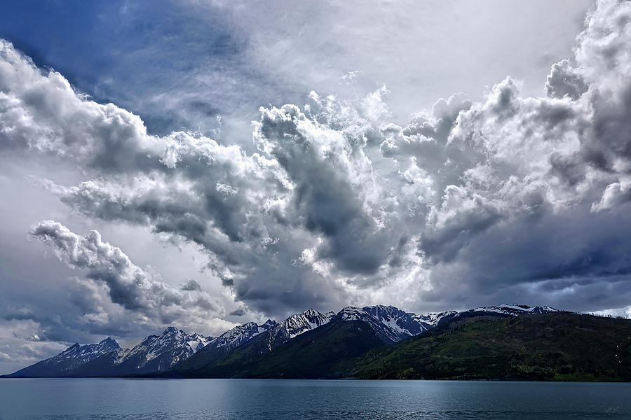 Grand Teton Mountains and Clouds by Rick Lawler