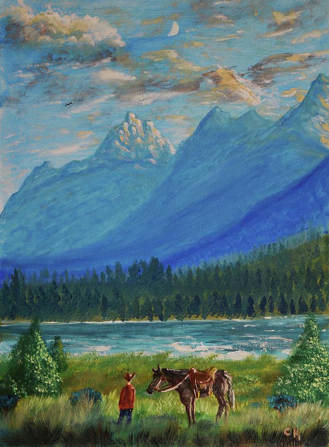 Grand Tetons and Wyoming Cowboy by Chance Kafka
