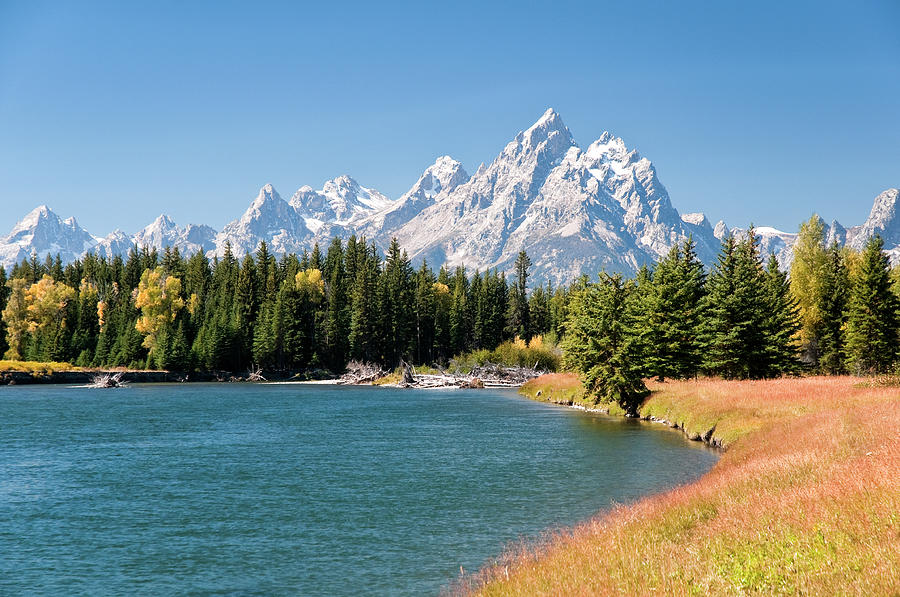 Grand Tetons Mountians And The Snake Photograph by Skibreck