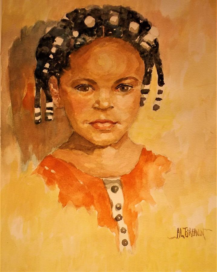 Granddaughter portrait in Watercolor by Al Brown
