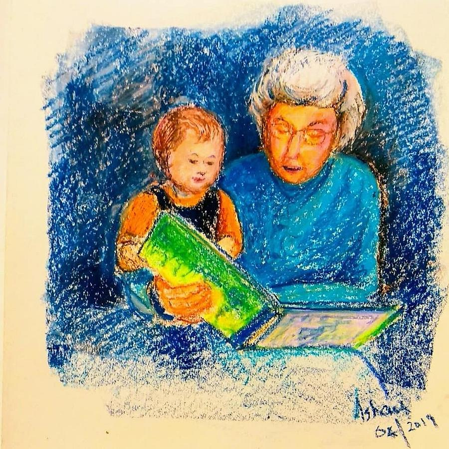 Grandmother and baby by Asha Sudhaker Shenoy