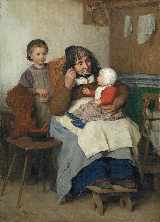 Grandmother spooning the Soup to her Grandchild by Albert Anker