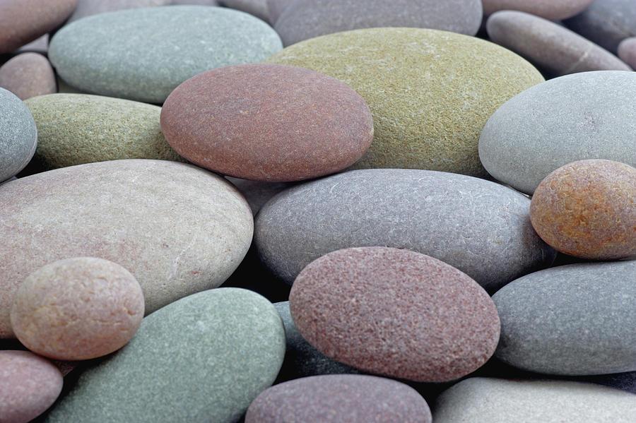 Granite Pebbles On Beach, Full Frame Photograph by Rosemary Calvert