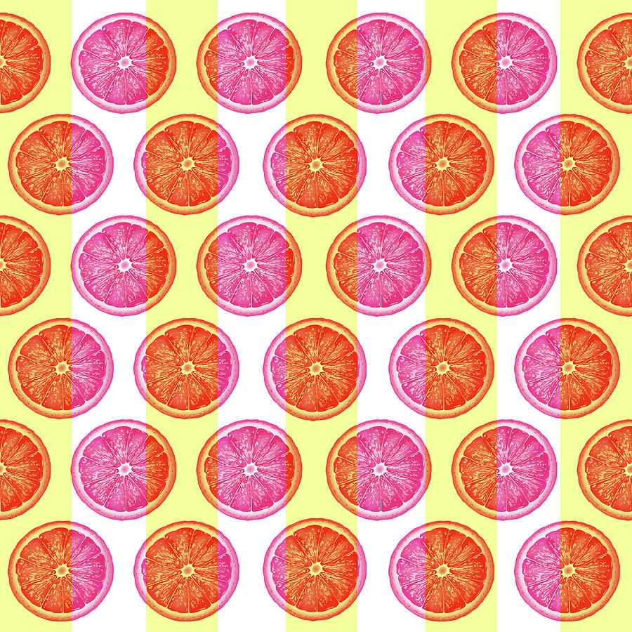 Grapefruit Slice Pattern 1 - Tropical Pattern - Tropical Print - Lemon - Orange - Fruit - Tangerine Mixed Media
