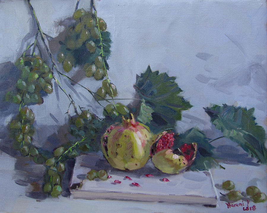 Grapes Painting - Grapes And Pomegranates by Ylli Haruni