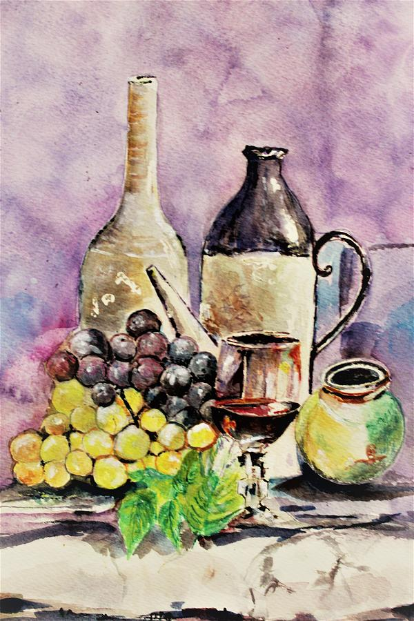 Grapes in still life by Khalid Saeed
