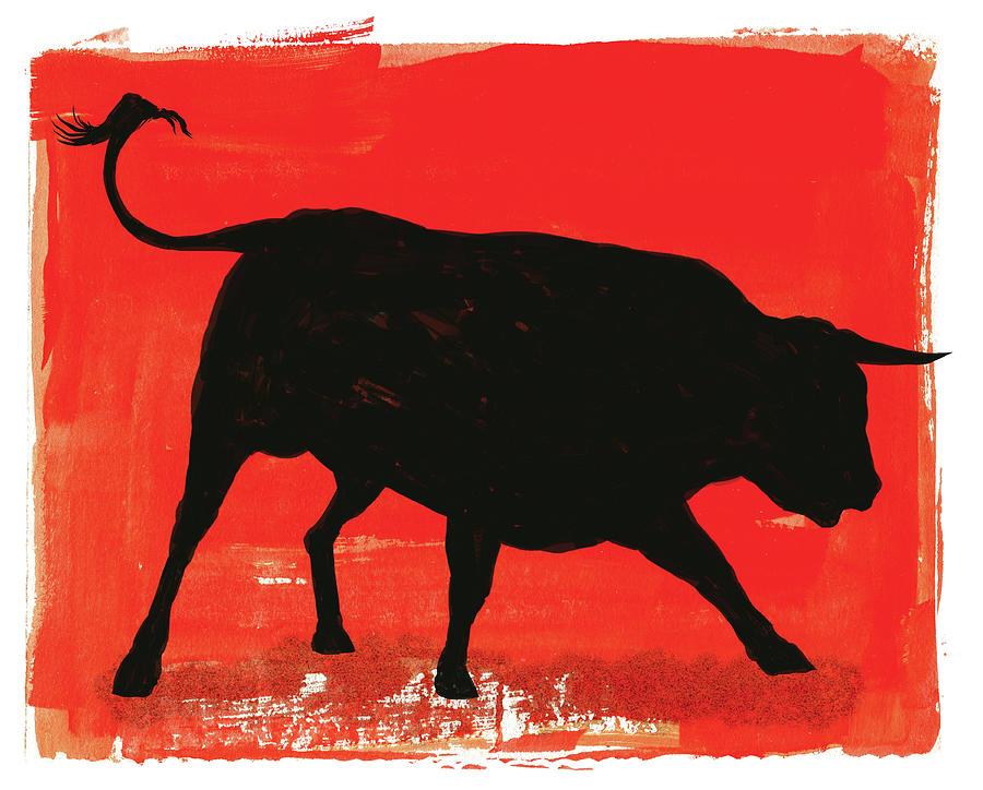 Graphic Bull Illustration Digital Art by Don Bishop