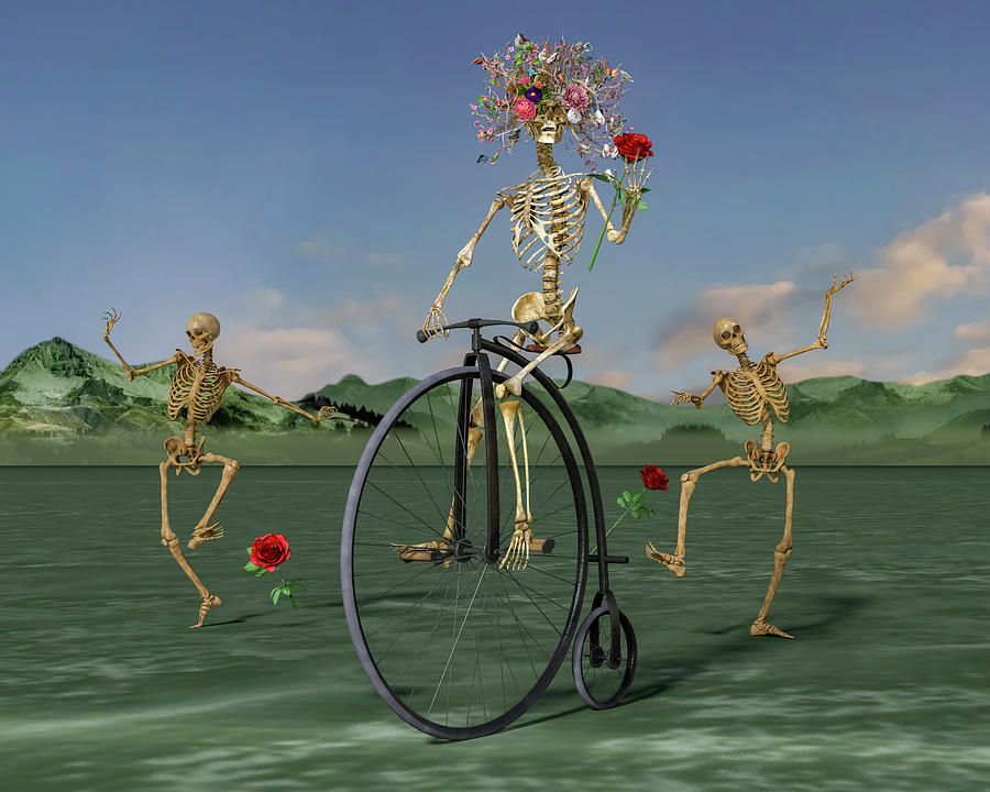 Human Digital Art - Grateful Dancing Cheer Skeletons by Betsy Knapp