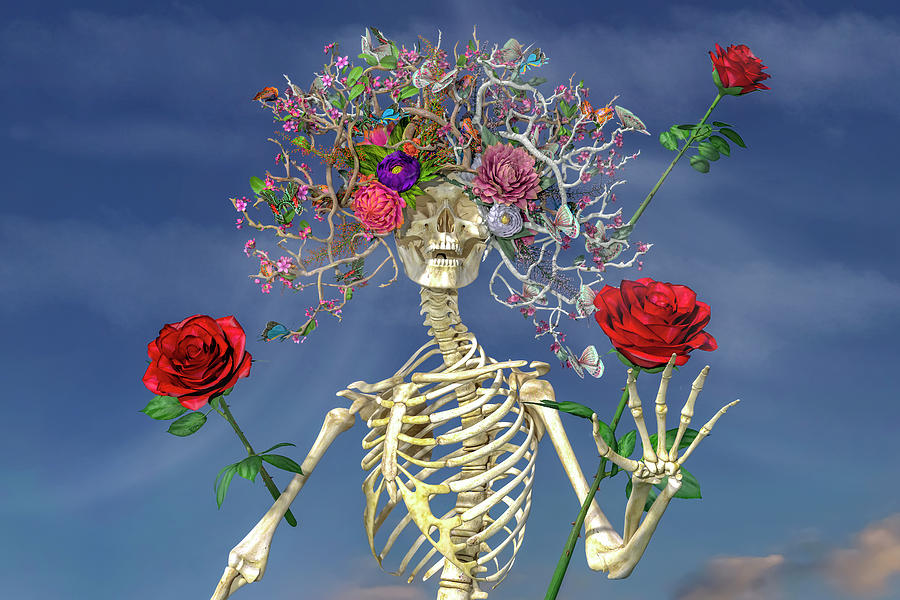 Skeleton Digital Art - Grateful Greetings And Good Times  by Betsy Knapp