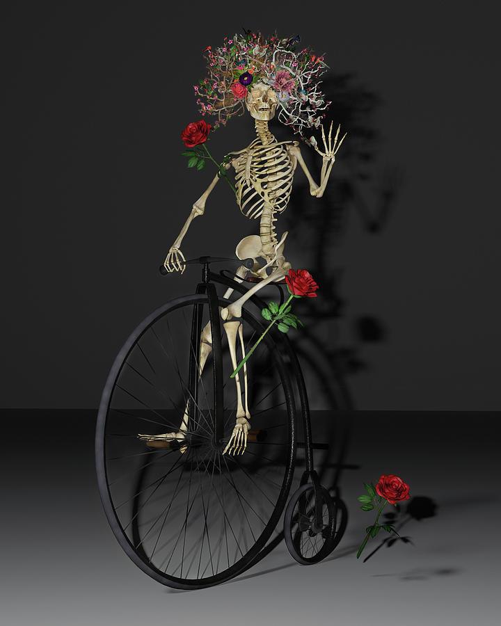 Skeleton Digital Art - Grateful Penny Farthing Skeleton by Betsy Knapp