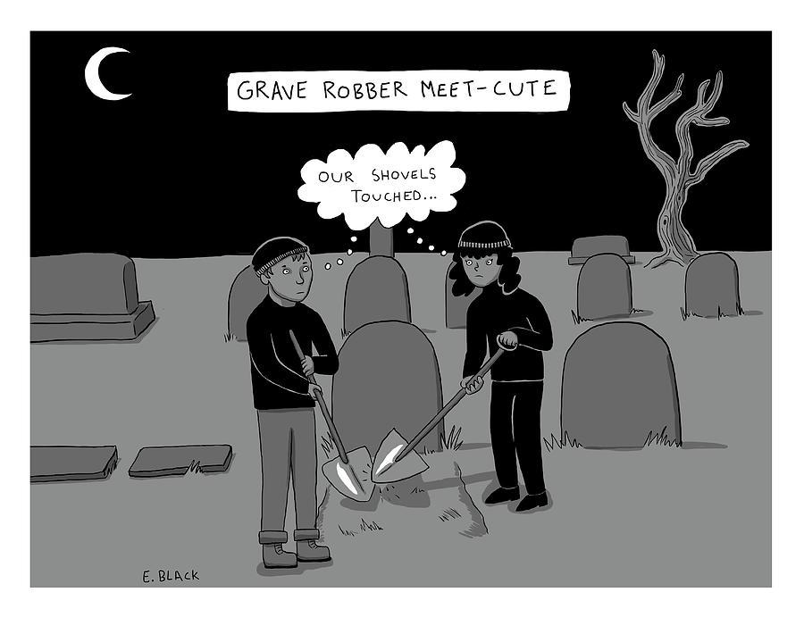 Grave Robber Meet-cute Drawing by Ellie Black