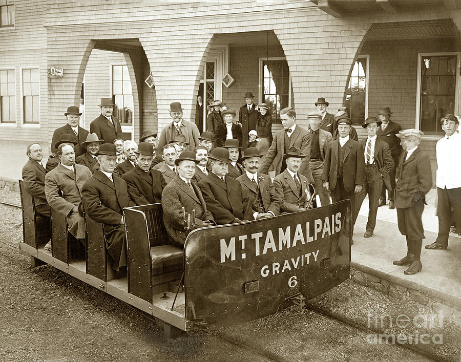 Gravity Car No. 6, passengers and  a Gravity-Man at the Porch of the Tavern of Tamalpais  by California Views Archives Mr Pat Hathaway Archives