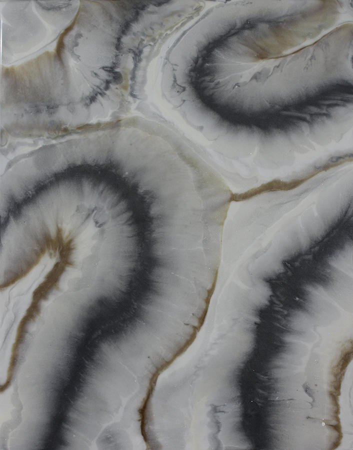 Gray Agate Geode 1 Painting by Kelly Gowan