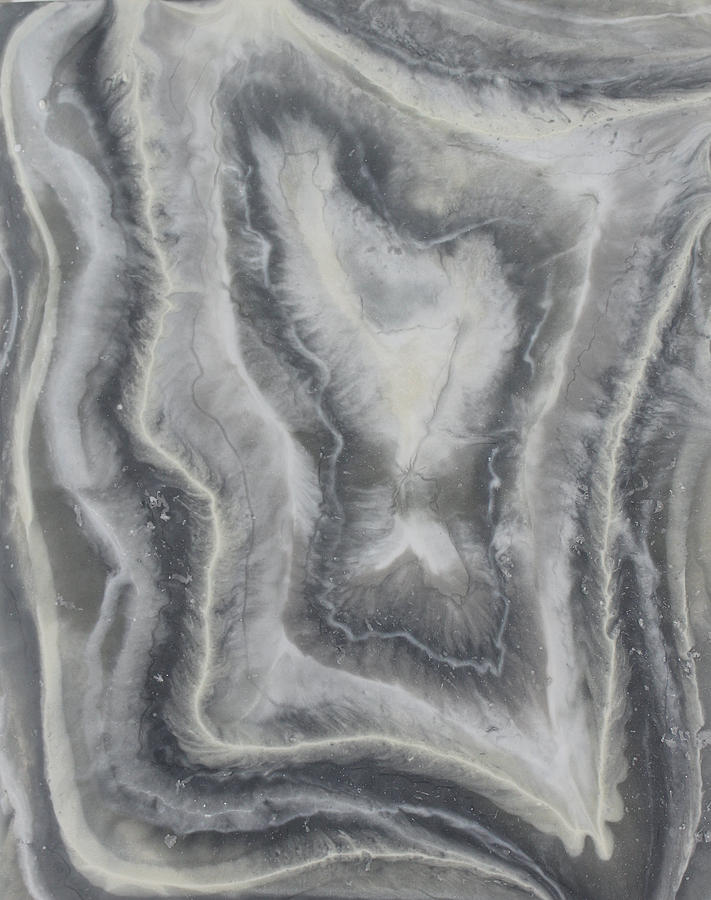 Gray Agate Geode 2 Painting by Kelly Gowan